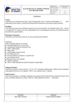 TOTM-DSD-037 Kan Bileşenleri
