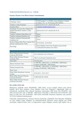 EMTN Yurtdışı Borçlanma İhracı, 30 Ekim 2014