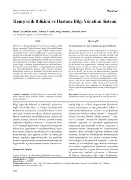 Hemşirelik Bilişimi ve Hastane Bilgi Yönetimi Sistemi