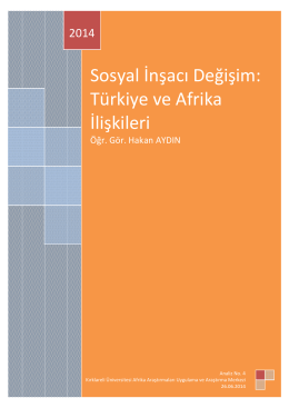 Sosyal İnşacı Değişim: Türkiye ve Afrika İlişkileri