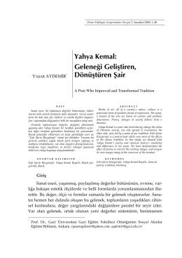 Yahya Kemal - Divan Edebiyatı Araştırmaları Dergisi