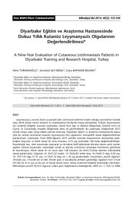 Diyarbakır Eğitim ve Araştırma Hastanesinde Dokuz Yıllık Kutanöz
