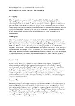Seminer Başlığı: Makine öğrenmesi, psikoloji ve beyin cerrahisi Title