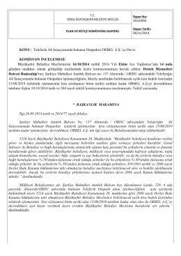 90. komisyon raporu - Ordu Büyükşehir Belediyesi