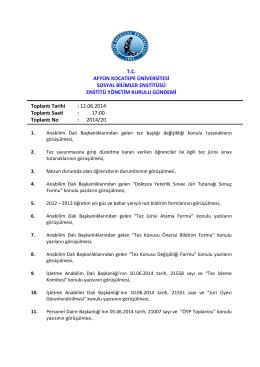 12.06.2014 Tarih ve 2014-20 Sayılı Karar