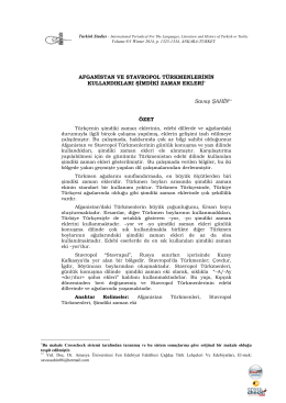 Afganistan ve Stavropol Türkmenlerinin