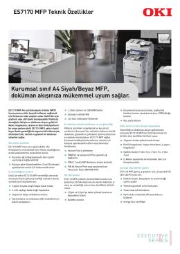 ES7170 MFP Teknik Özellikler Kurumsal sınıf A4