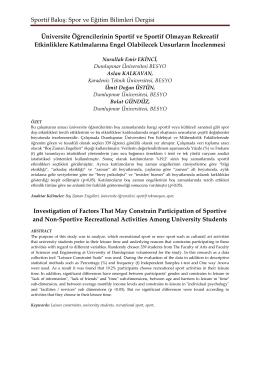Sportif Bakış: Spor ve Eğitim Bilimleri Dergisi Üniversite