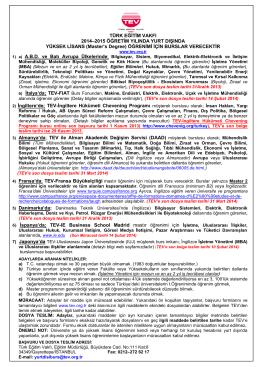 TÜRK EĞĠTĠM VAKFI 2014–2015 ÖĞRETĠM YILINDA