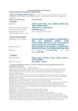 İhale Kayıt Numarası : 2014/158774 a) Adresi : EKREM ÇETIN MAH