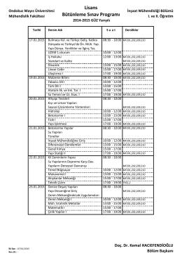Lisans Bütünleme Sınav Programı - Ondokuz Mayıs Üniversitesi