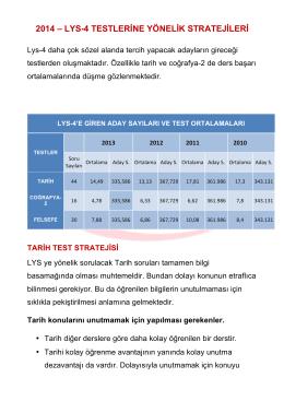 LYS-4 Testine Yönelik Stratejiler
