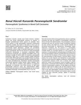 Renal Hücreli Kanserde Paraneoplastik Sendromlar