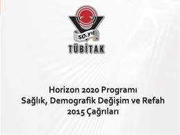 Horizon 2020 Programı Sağlık, Demografik Değişim ve Refah 2015
