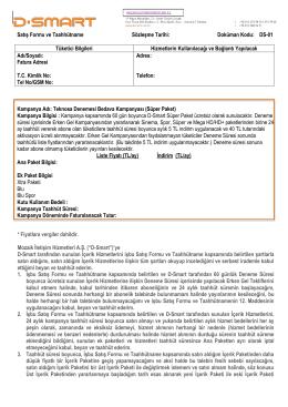 Satış Formu ve Taahhütname Sözleşme Tarihi: Doküman - D