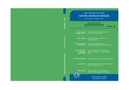 Dış Kapak - Sosyal Bilimler Dergisi