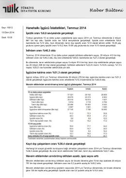 TÜİK İşgücü İstatistikleri Temmuz 2014