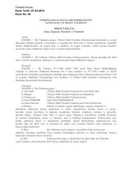 Satın Alma ve İhale Talimatı - Türkiye Halk Oyunları Federasyonu