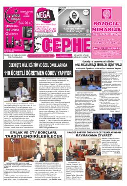 6.11.2014 Tarihli Cephe Gazetesi