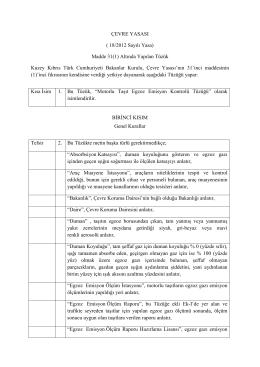 ÇEVRE YASASI ( 18/2012 Sayılı Yasa) Madde 31(1) Altında Yapılan
