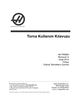 Torna Kullanım Kılavuzu - Haas Automation® Resource Center
