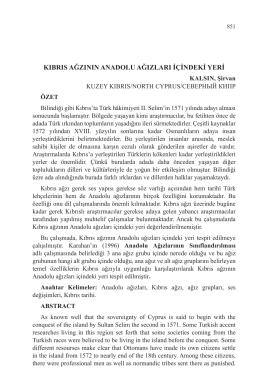 KALSIN, Şirvan-KIBRIS AĞZININ ANADOLU AĞIZLARI