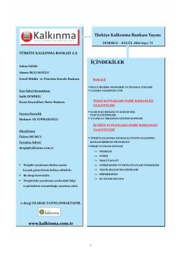 ĠÇĠNDEKĠLER - Türkiye Kalkınma Bankası