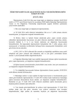 EYLÜL 2014 - Milli Eğitim Bakanlığı Personel Genel Müdürlüğü