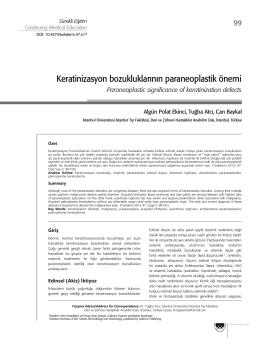 Keratinizasyon bozukluklarının paraneoplastik önemi