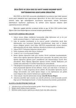 2014 ÖSYS VE 2014 DGS İLE KAYIT HAKKI KAZANIP KAYIT
