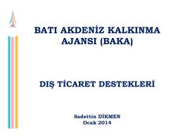 dış ticaret (ekonomi bakanlığı) destekleri (ocak 2014)