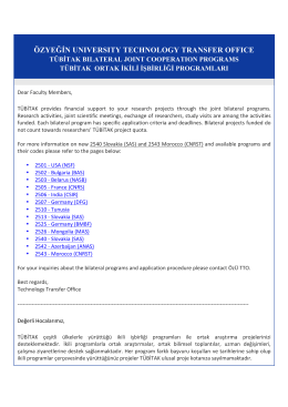 TÜBİTAK İkili İşbirliği Programları - ÖzÜ TTO | Özyeğin Üniversitesi