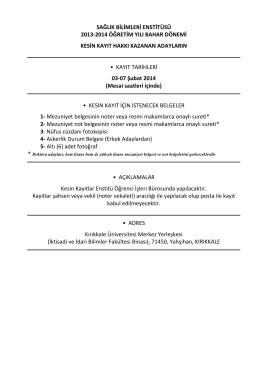 sağlık bilimleri enstitüsü 2013-2014 öğretim yılı bahar dönemi kesin