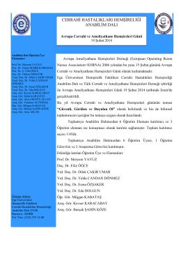 19 Şubat 2014 Avrupa Cerrahi ve Ameliyathane