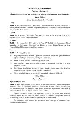Ölçme Yönergesi - Dumlupınar Üniversitesi