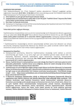 türk telekomünikasyon a.ş. 12 ay 10 tl indirimli eko paket