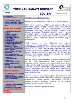türk yan sanayi borsası bülten