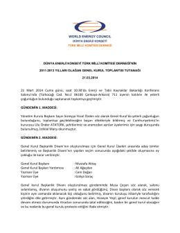 Genel Kurul Kararları Raporu 2011 - Dünya Enerji Konseyi Türk Milli