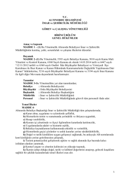 Görev ve Çalışma Yönetmeliği - Altınordu Belediye Başkanlığı
