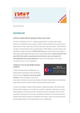 TÜSEV e-bülten sayı 83, Eylül 2014
