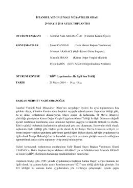 İstanbul Yeminli Mali Müşavirler Odası 29 Mayıs
