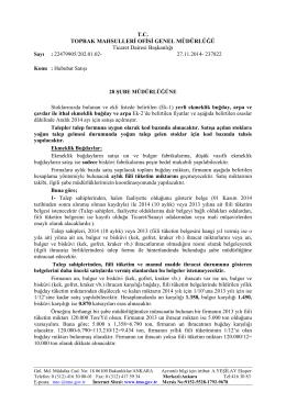 T.C. TOPRAK MAHSULLERĐ OFĐSĐ GENEL MÜDÜRLÜĞÜ