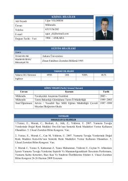 KİŞİSEL BİLGİLER Adı Soyadı Uğur YILDIRIM Ünvan Mühendis