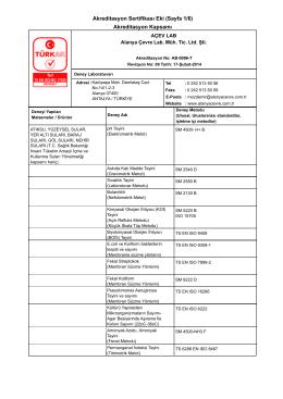 Akreditasyon Sertifikası Eki (Sayfa 1/6) Akreditasyon Kapsamı