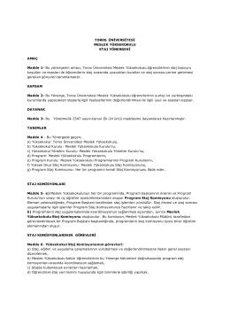 Toros Üniversitesi Meslek Yüksekokulu Staj Yönergesi