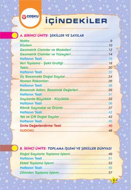 İÇİNDEKİLER - Coşku Yayınları