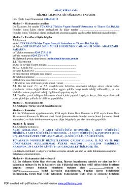 sözleşme tasarısı - Türkiye Vagon Sanayi A.Ş.