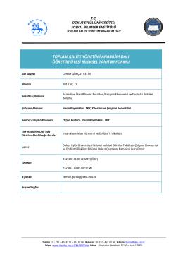 Bilimsel Tanıtım Formu (PDF) - Sosyal Bilimler Enstitüsü