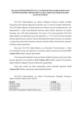 2013-2014 eğitim-öğretim yılı yaz dönemi pedagojik formasyon