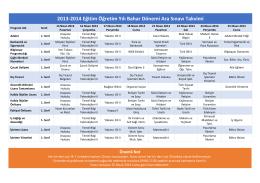 2013-2014 Eğitim Öğretim Yılı Bahar Dönemi Ara Sınavı Takvimi